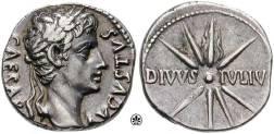A denarius minted c. 18 BC. Obverse: CAESAR AVGVSTVS; reverse: DIVVS IVLIV[S] (DIVINE JULIUS)